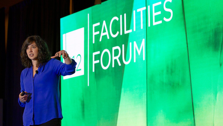 Anisa Heming speaking at the K12 Facilities Forum