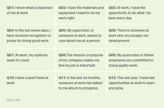 Gallup's 12 elements of employee engagement.